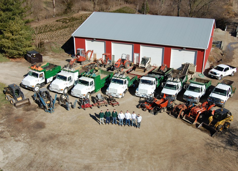 aerial view of the crew and trucks