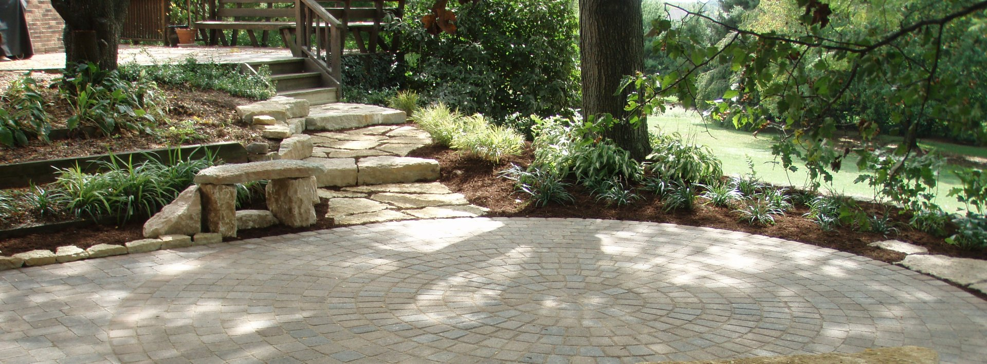 Paver deck and woods